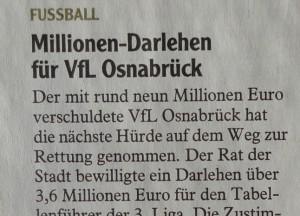 Millionen Darlehen für VfL Osnabrück